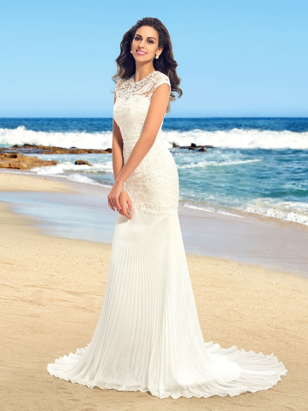 Dazzling Beaded Lace Jewel Neck Ruched Mermaid Wedding dress(Free Shipping)