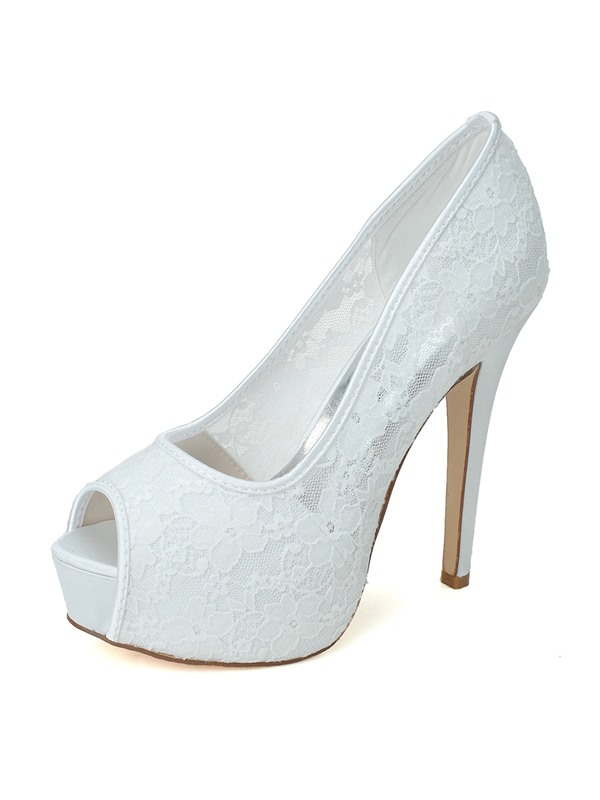 Classyable Lace Stiletto Heel Peep toe Wedding Shoes