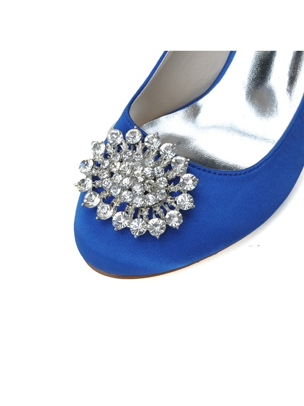 Simple Style Rhinestone Decorated Satin Stiletto Heel Wedding Shoes