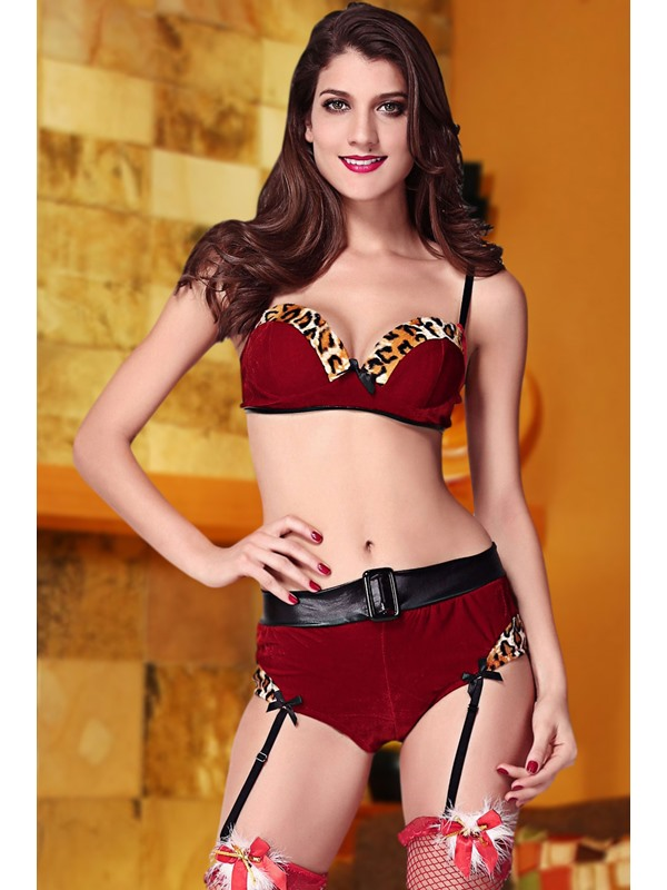 Red Spaghetti Strap Leopard Bra and Panty Set