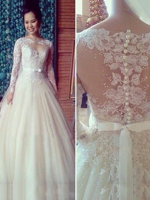 Vintage High Neck Sheer Neck Long Sleeve Lace Wedding Dress(Free Shipping)
