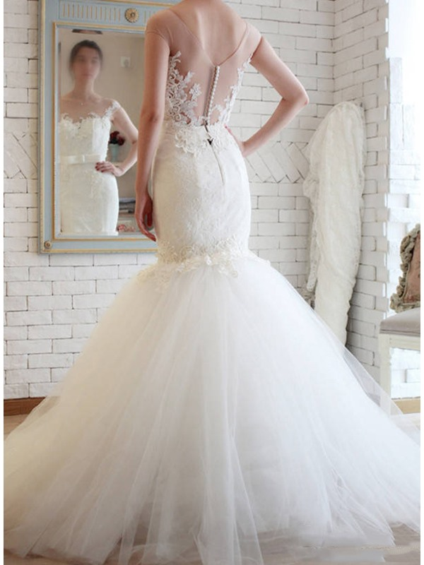 Vintage Off the Shoulder Lace Appliques Mermaid Wedding Dress(Free Shipping)