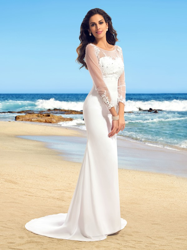 Elegant Sheer Scoop Neck Mermaid Long Sleeve Wedding Dress(Free Shipping)