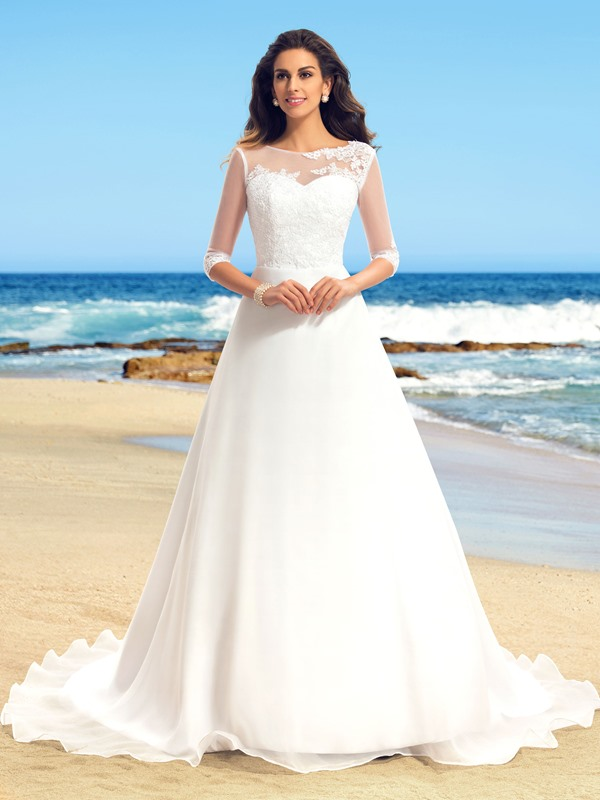 Delicate Lace Applique Scoop Neck A-Line Long Sleeve Wedding Dress(Free Shipping)
