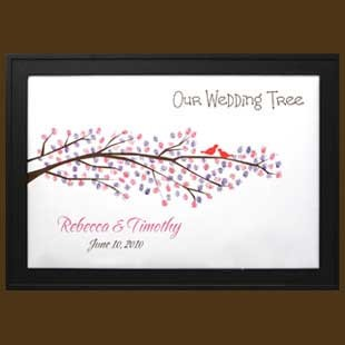 Personalized Wedding Thumbprint Tree with Love Birds Signature Frame