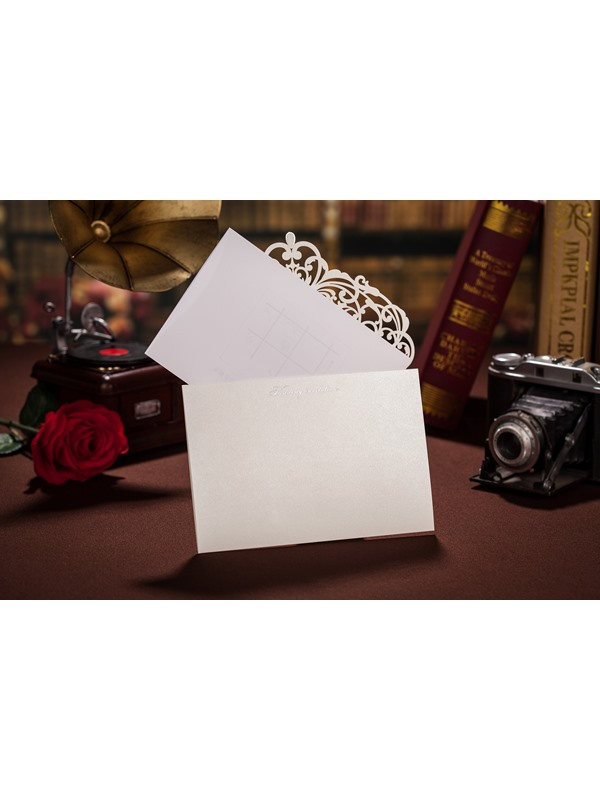 White Floral Style Side Fold Invitation Cards (20 Pieces One Set)