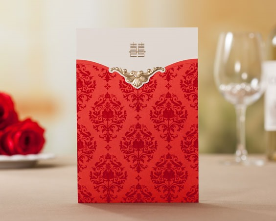 Floral Style Top Fold Invitation Cards (20 Pieces One Set)