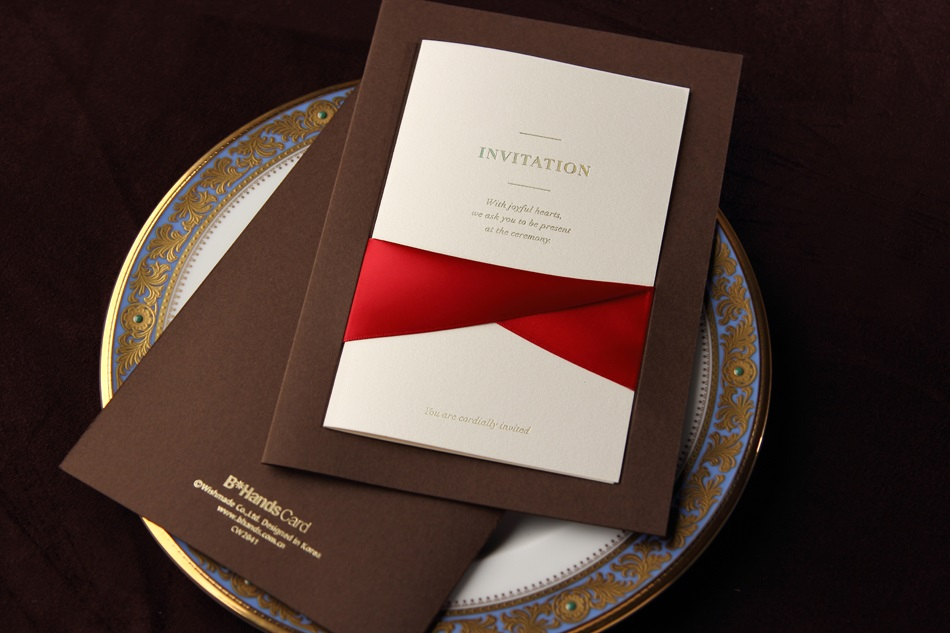 Invitation Cards With Ribbons (20 Pieces One Set)