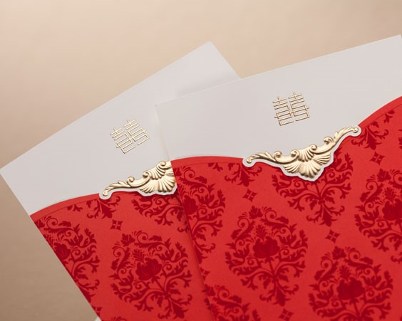 Red Floral Style Top Fold Invitation Cards (20 Pieces One Set)