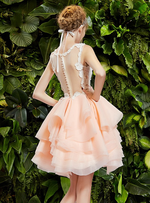 Cute Scoop Neck Lace Tiered Button A-Line Short Prom Dress