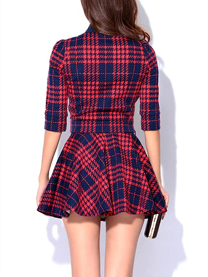 Plaid Medium Waist Pleated Skirt Suit