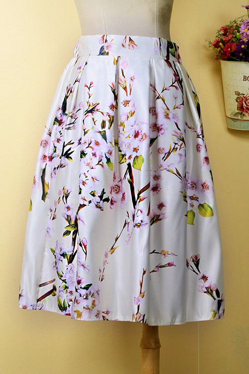Floral Print Pleated A-Line Skirt
