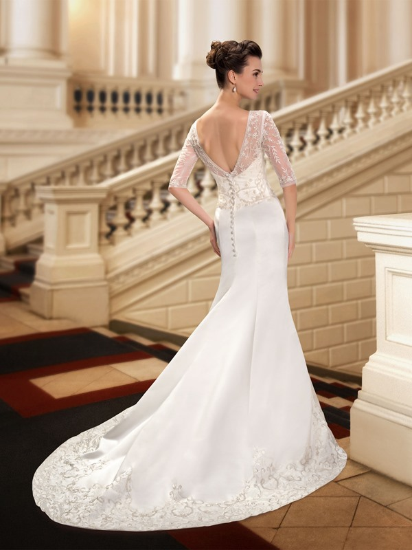 Beaded Sheer Scoop Neck Embroidered Mermaid Wedding Dress with Sleeves(Free Shipping)
