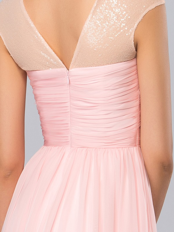 Simple A-Line Jewel Sequins Ruffles Long Pink Prom Dress Designed
