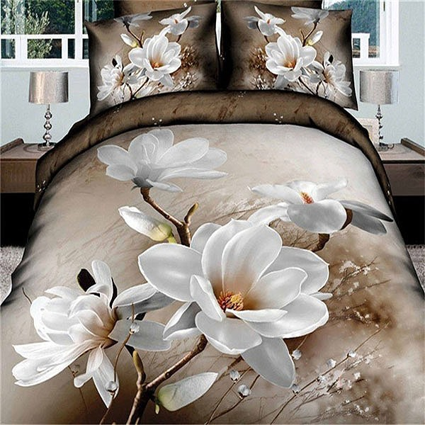 Blooming Magnolia Flower Printed 4-Piece Bedding Set