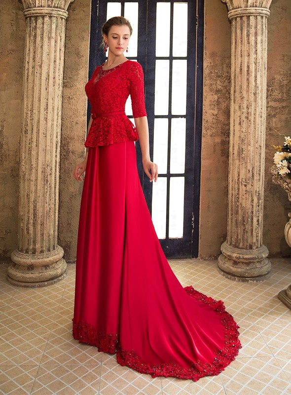 Elegant Scoop Neckline Lace Beading Half Sleeves Lace-up Long Evening Dress