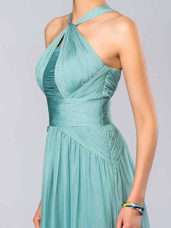 Consice A-Line Halter Ruffles Floor Length Evening Dress(Free Shipping)