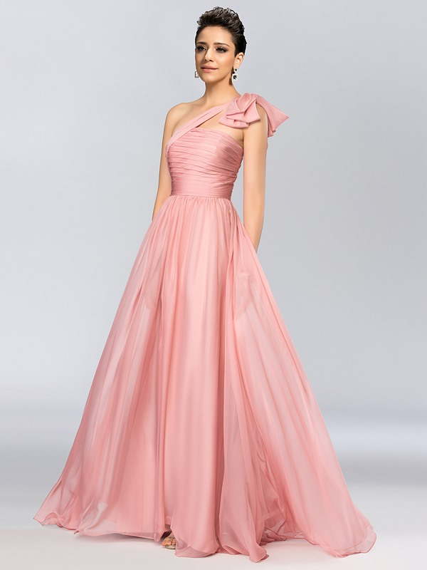 One Shoulder Ruched Bowknot A-Line Long Evening Dress