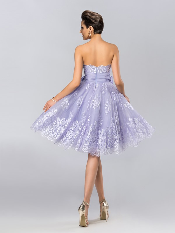 Simple Strapless Lace Bowknot Knee-Length Cocktail Dress Designed