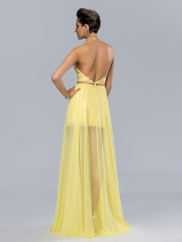 Dazzling Halter Backless Lace Split-Front Long Prom Dress