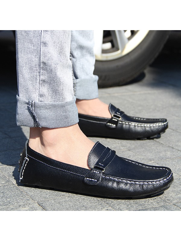 Solid Color Quilted Strap Moccasin-Gommino