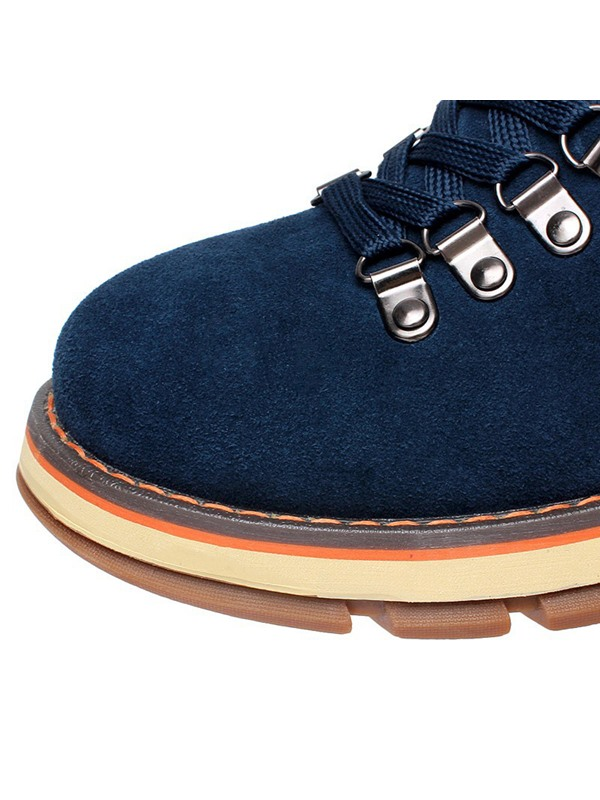 Nubuck Solid Color Lace-Up Ankle Boots