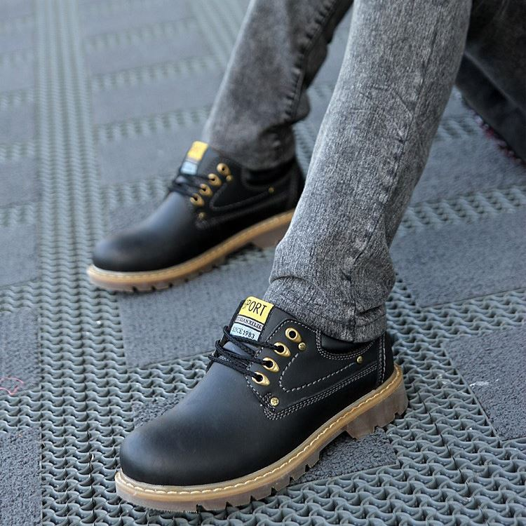 Round Toe Solid Color Martin Boots