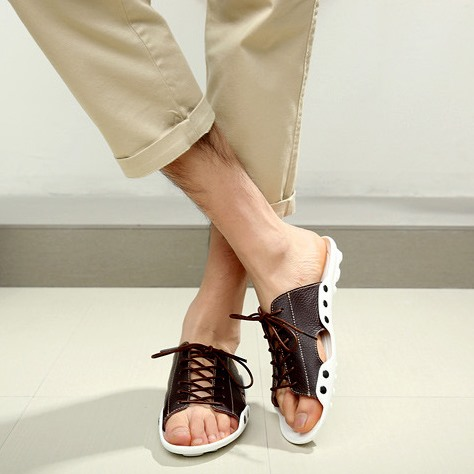 Cut Out Lace-Up Leather Slippers(Free Shipping)