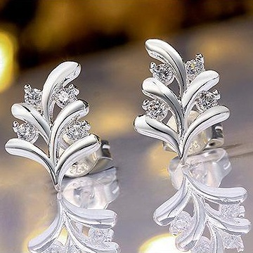 Leaves-Shaped with Crystal Earrings