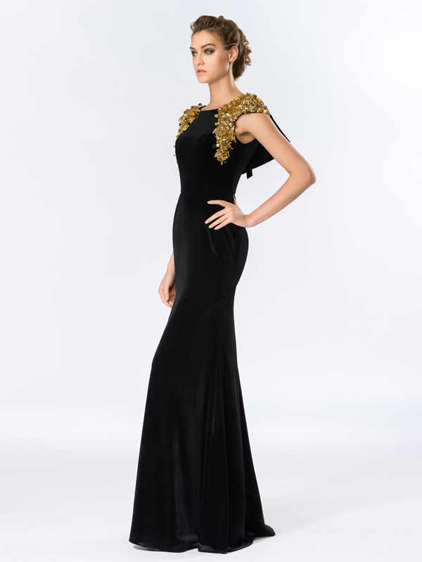 Timeless Bateau Neckline Sheath Beading Sequins Long Evening Dress