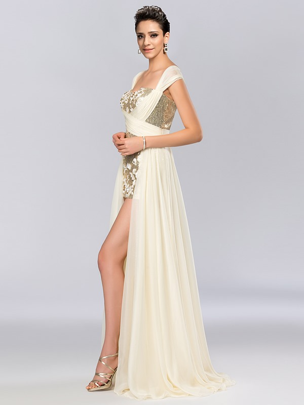 Dazzling Cap Sleeves Sequins Asymmetrical Evening Dress Designed