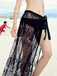 White Floral Embroidery Lace Beach Skirt Cover-up