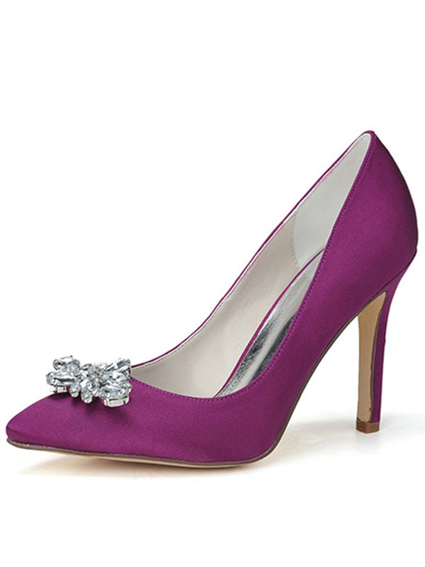 Cloth Simple Rhinestone Decorated Pointed Toe Pumps