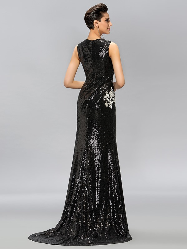 Jewel Neck Sequins Sweep Train Long Evening Dress Designed