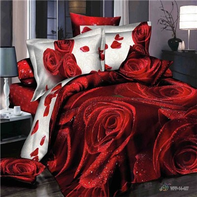 Red Blooming Flower Printed Cotton 4-Piece 3D Bedding Set