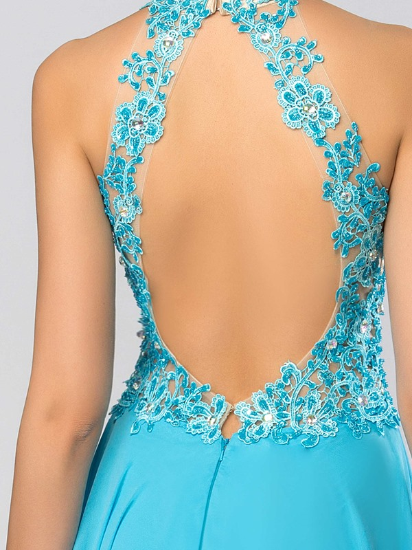 Trendy High Neck Appliques Beading Backless A-Line Long Prom Dress