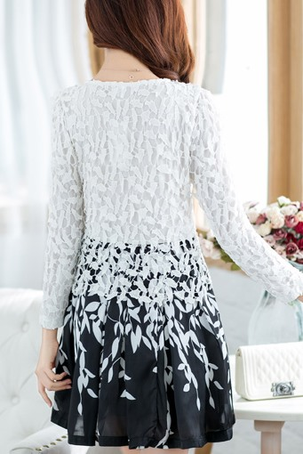 Double Layer Lace Long Sleeve Day Dress