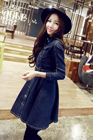 Dark Blue Flap Pockets Falbala Denim Dress