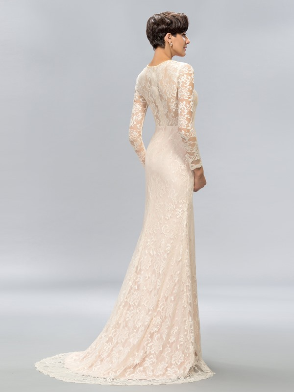 Sheath Jewel Neck Lace Long Sleeves Sweep Train Evening Dress Designed (Free Shipping)