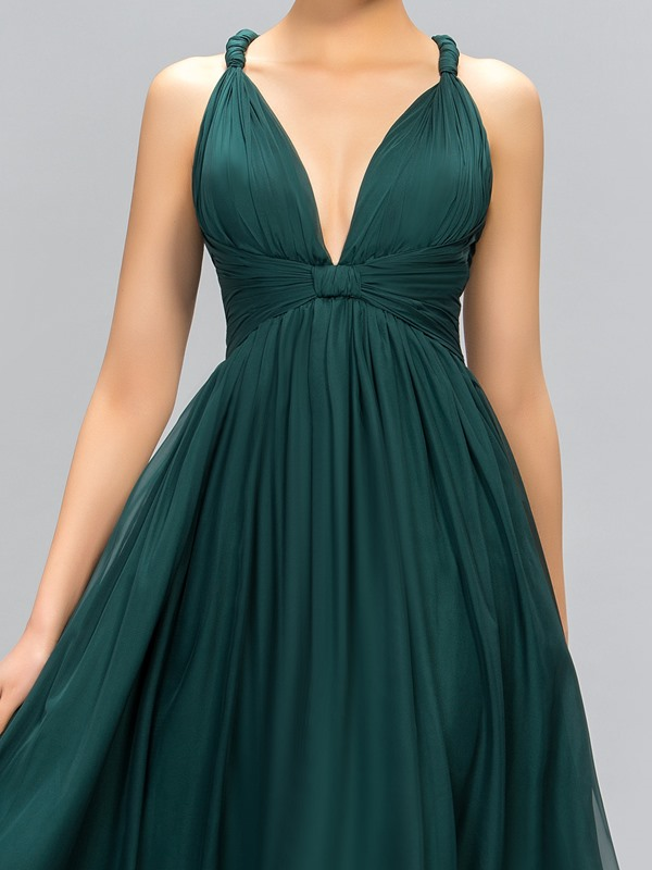 Classic V-Neck Straps A-Line Evening Dress Designed (Free Shipping)