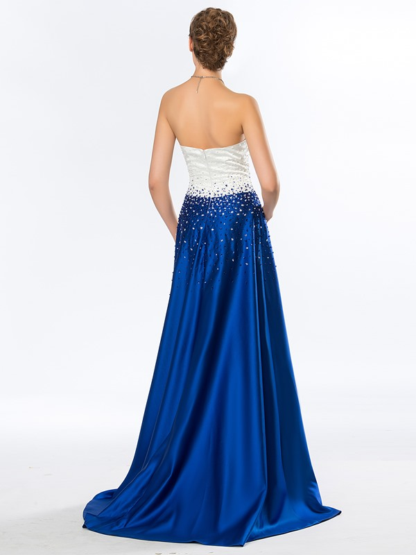 Simple Strapless Beading A-Line Long Evening Dress Designed