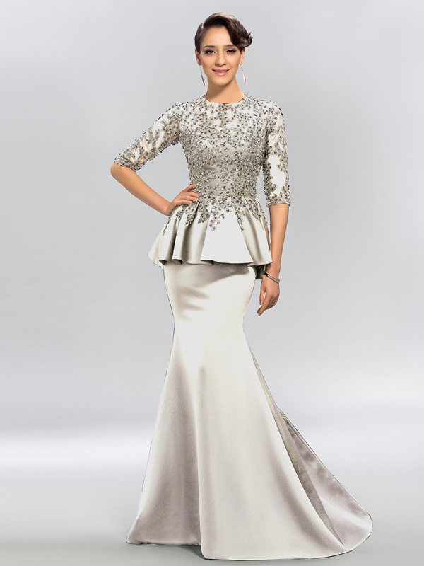 Jewel Neck Appliques Sequins Half Sleeves Evening Dress(Free Shipping)