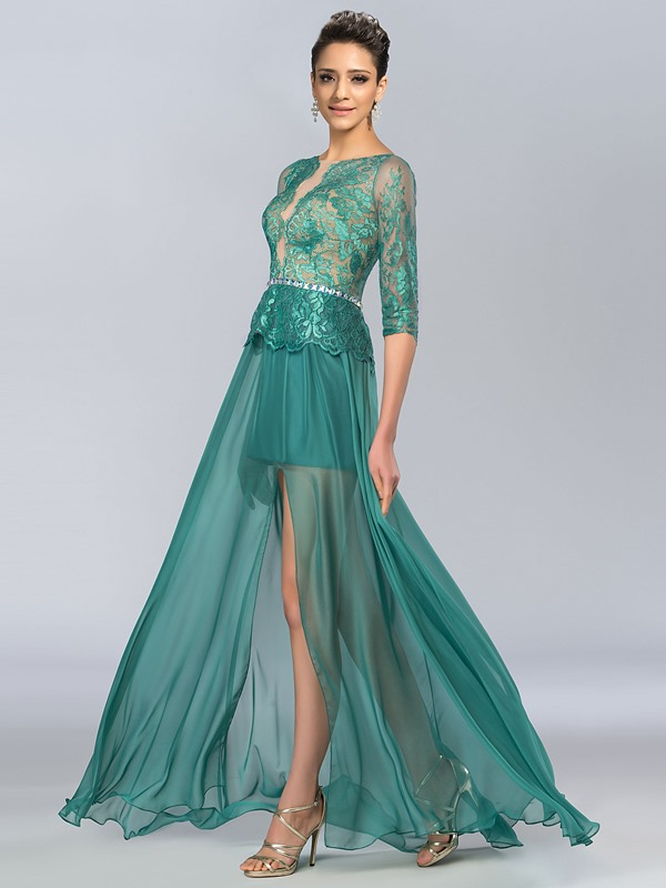 A-Line Bateau Neck Split Front Long Evening Dress