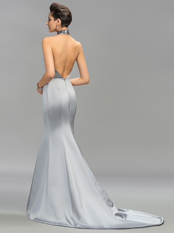 Classic Halter Mermaid Embroidery Backless Long Evening Dress Designed