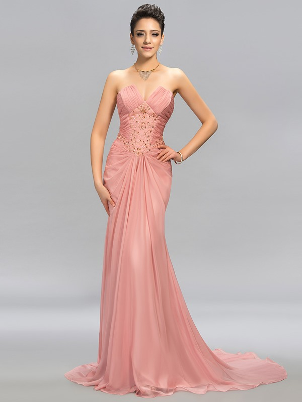 Modest Strapless Trumpet Beading Pleats Long Evening Dress Designed