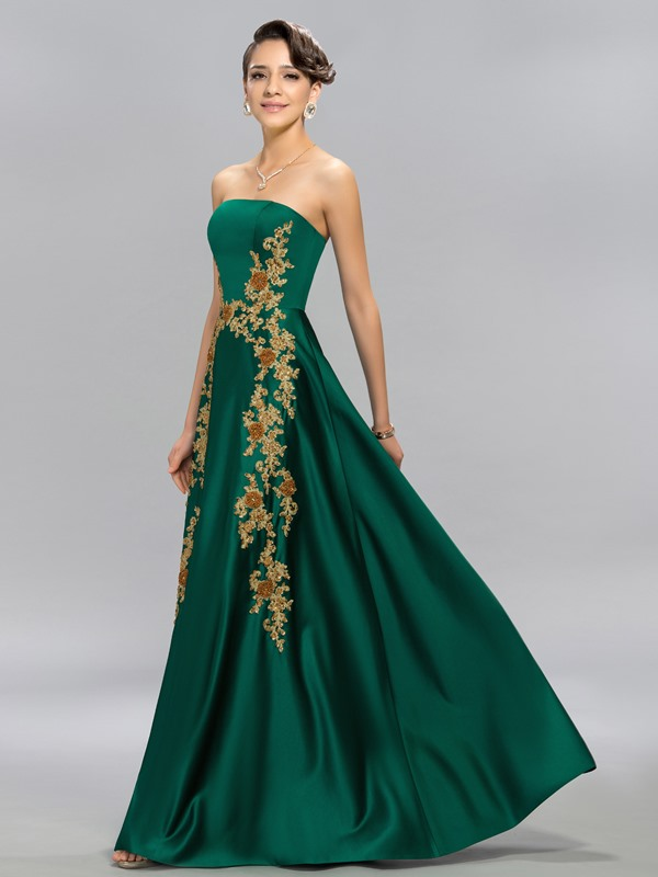 Classy Strapless A-line Appliques Beading Evening Dress Designed