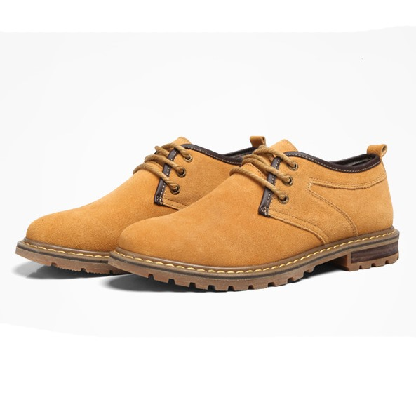 Solid Color Nubuck Lace-Up Derbies