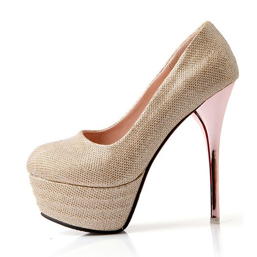 Glitter Solid Color Platform Pumps