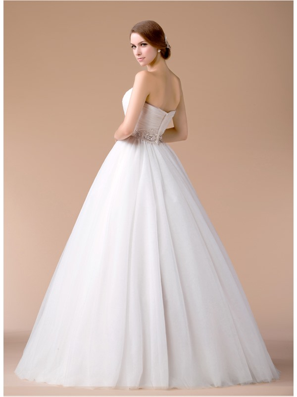 Simple Style Strapless Sweetheart Floor Length A-Line Wedding Dress