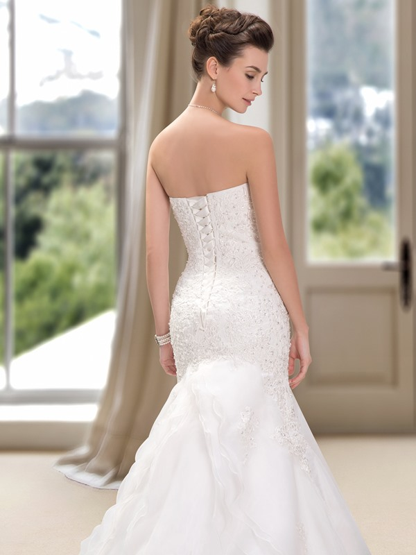 Strapless Beaded Sweetheart Lace Mermaid Wedding Dress(Free Shipping)